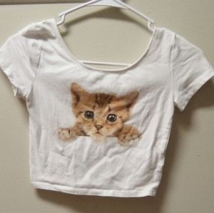 White crop top with cat picture